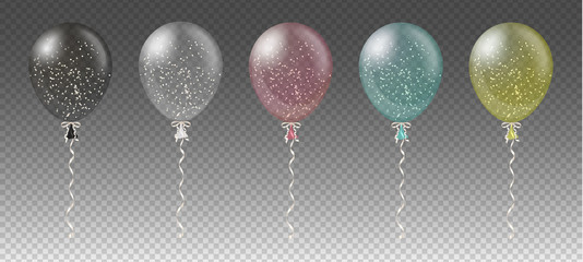 Celebration background template with colorful balloons, confetti and ribbons on transparent background. Vector illustration.