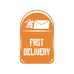 Logo of quick delivery of letters on an orange mailbox