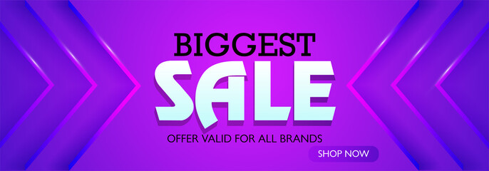 Biggest Sale Website Banner on Purple Background.