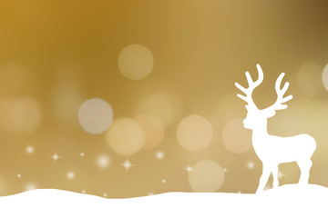 white silhouette reindeer standing on snow floor isolated on golden background with bokeh and twinkle star light effect for Christmas celebration concept