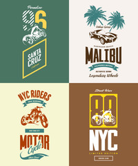 Vintage New York bikers club vector t-shirt logo isolated set.