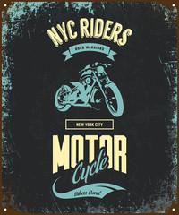 Vintage bikers club vector t-shirt logo isolated on dark background. Premium quality motorcycle logotype tee-shirt emblem illustration. New York City road warriors street wear retro tee print design.
