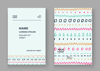 Abstract pattern with color hand drawn strokes artistic cover frame design. Minimal drawing lines white background. Trendy ethnic template vector Cover Report Catalog Brochure Flyer Poster Banner
