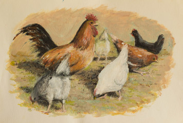 Hen and chickens eating in farm yard - An oil painting