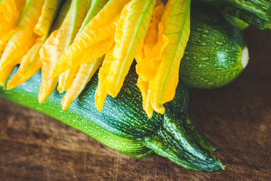 zucchini and flowers biological agriculture - vintage style photo