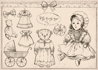 """Hand drawn vector set """"My lovely toys"""" in vintage style. Vintage toys: bear, doll, pram, dress for doll and ribbons. Perfect for kids decor."""