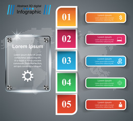 Business Infographics origami style Vector illustration. Glass icon.