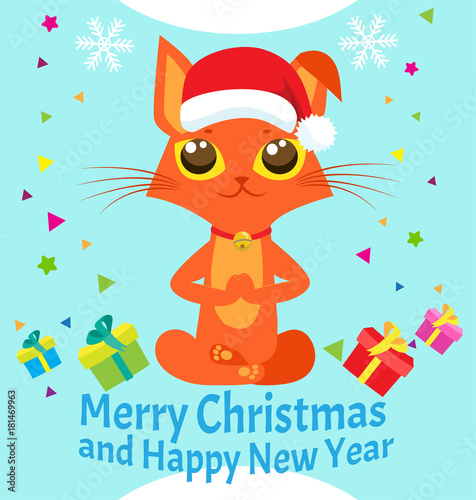 happy new year card with meditating cat vector christmas yoga cat