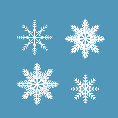 Set of 4 snowflakes on a blue background. Vector illustration