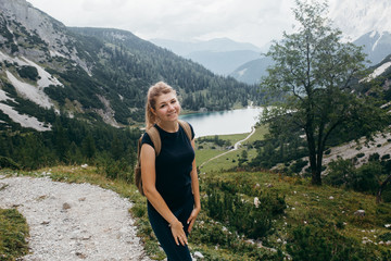 The young girl in the Alps