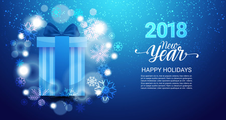 Happy New Year Background Poster Decorated With Glittering Gift Box And Snowflakes Vector Illustration