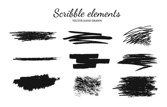 Set of vector scribble, smears elements for logo design. Paint, grunge brush strokes.