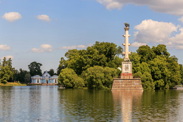 Petersburg, Russia - June 29, 2017: The Chesme Column on the Great Pond in the Catherine Park. The Tsarskoye Selo is State Museum-Preserve.