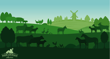 Vector rural landscape with farm animals