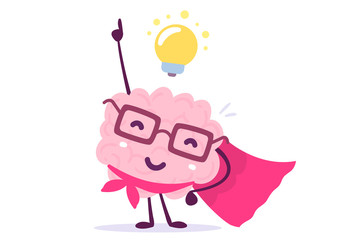Vector illustration of pink color human brain with glasses as a super hero and light bulb on white background. Inspiration cartoon brain concept.