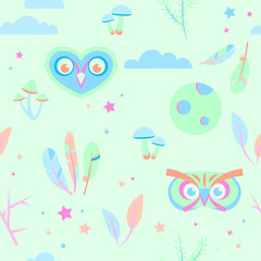 Seamless pajama pattern in pastel colors with owls