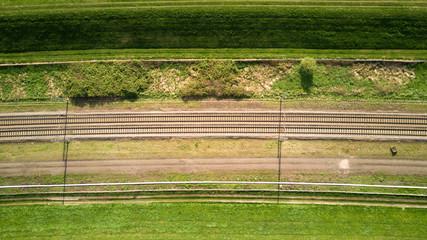 Horizontal view of train tracks