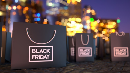 black friday sale. prices off, big sale, package, bargain sale. sity stylish background. Packaging bags background