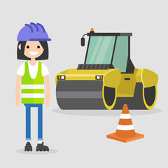 Young female engineer wearing a hard hat and a reflecting vest. Asphalt paving works. Industrial illustration. Yellow steamroller and orange cone. Flat vector illustration, clip art.