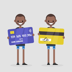 Personal finances. Bank account. Young black character holding a plastic card: front and back sides. Wireless transaction. Contactless payment. Flat editable vector illustration, clip art