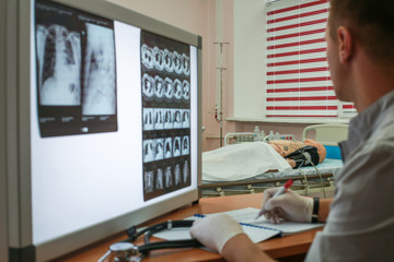 Carrying out a description of the radiographs of a patient with COPD