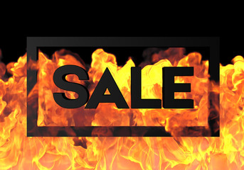 Papiers peints Affiche vintage Sale on fire background. Hot for holiday and event, show, party, website, banner, dvd.