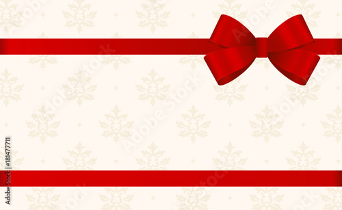 vector invitation card with red holiday ribbon and bow on beige