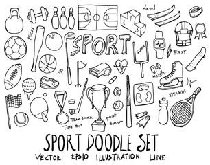 Set of Sport illustration Hand drawn doodle Sketch line vector eps10