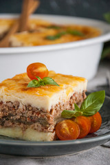 Moussaka. Traditional Greek eggplant casserole