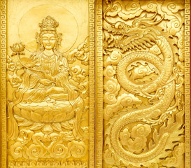 craft of golden Guan Yin and dragon