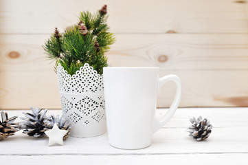 Christmas mock up styled stock product image white cup, Christmas scene with a white blank coffee mug that you can overlay your custom design