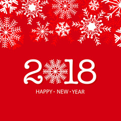 2018 Happy new year vector greeting card with snow.