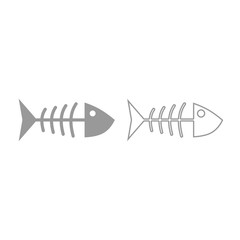 Fish sceleton icon. Grey set .