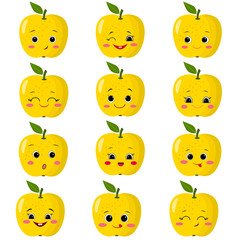 Set of flat icons of yellow apples smiles.
