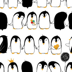 Seamless Pattern Of Penguins.