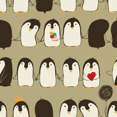Seamless Pattern Of Penguins.