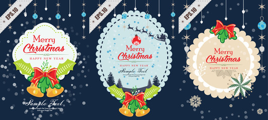 set of Merry Christmas and Happy New Year,christmas tree, snowman and tree under the snow,