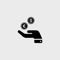 Euro and dollar flat vector icon