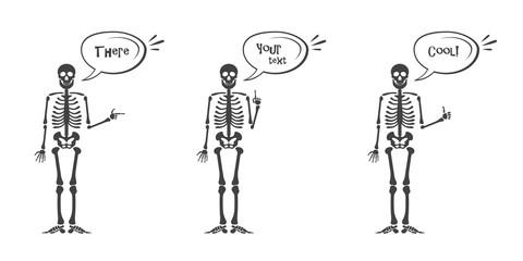Skeleton hand gestures set. Human skeleton posing isolated on white background illustration.