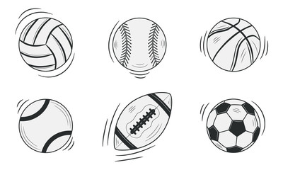 Sports balls isolated on white background. Doodle, sketch style. Vector illustration