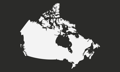 Wall Mural - Map of the Canada isolated on a black background. Canadian background. Canadian map