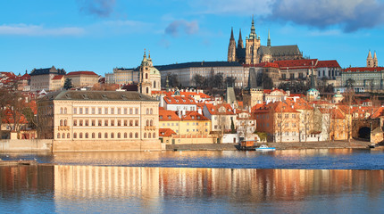 View on St. Vitus Cathedral and Prague Castle across Vltava river