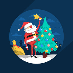 Santa Claus decorates with toys Christmas tree on  background of a night city in the night.