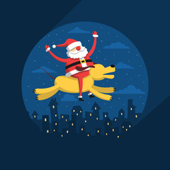 Santa Claus flies on a yellow dog over the night city.