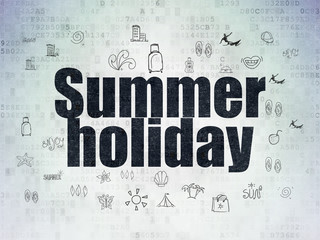 Tourism concept: Painted black text Summer Holiday on Digital Data Paper background with  Hand Drawn Vacation Icons