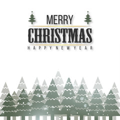 Merry Christmas. Happy New Year. Christmas Poster including Stylish Typography. Snow and X-mas on White Background