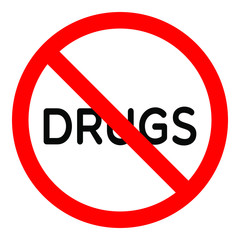 Forbidden sign drugs glyph icon. Stop silhouette symbol. No drugs. Negative space.