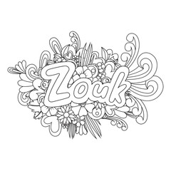 Zouk Zen Tangle. Doodle flowers and text for dance.