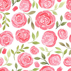 seamless pattern with watercolor floral elements