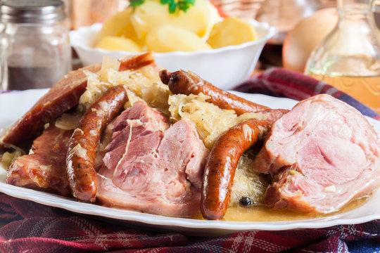 Choucroute garnie. Alsatian sauerkraut